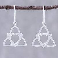 Sterling silver dangle earrings, 'Harmonious Shapes' - Openwork Sterling Silver Dangle Earrings from Thailand