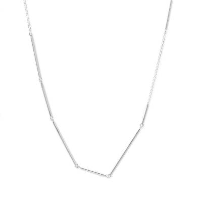 Sterling silver link necklace, 'Silver Bars' - Handmade 925 Sterling Silver Necklace from Thailand