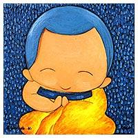 'Praying II' - Blue Naif Painting of a Buddhist Monk from Thailand
