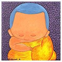 'Meditation I' - Signed Naif Painting of a Buddhist Monk in Yellow
