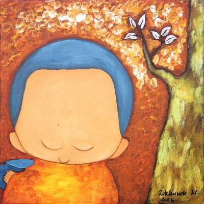 'Good Offering I' - Signed Painting of a Buddhist Monk and a Tree in Brown