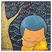 'Meditation III' - Signed Naif Painting of a Buddhist Monk and a Tree