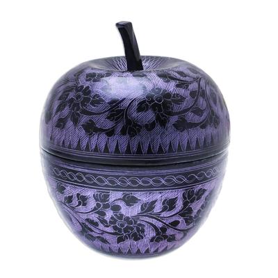 Floral Engraved Mango Wood Apple Decorative Jar in Purple
