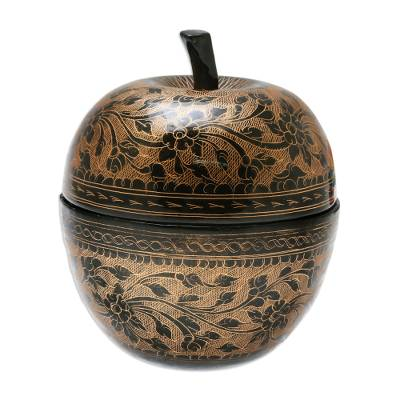 Floral Engraved Mango Wood Apple Decorative Jar in Orange