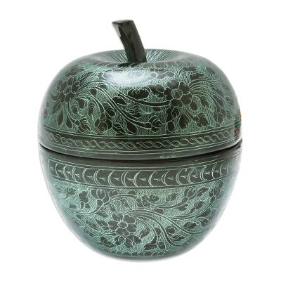 Floral Engraved Mango Wood Apple Decorative Jar in Green