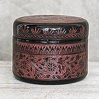 Mango wood decorative box, 'Exotic Flora in Red' - Round Mango Wood Decorative Box in Red from Thailand