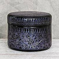 Mango wood decorative box, 'Exotic Flora in Purple' - Round Mango Wood Decorative Box in Purple from Thailand
