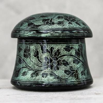 Mango wood decorative box, 'Floral Mushroom in Green' - Lacquerware Mango Wood Decorative Box in Green from Thailand