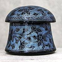 Mango wood decorative box, 'Floral Mushroom in Blue' - Lacquerware Mango Wood Decorative Box in Blue from Thailand