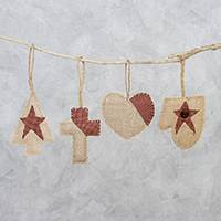 Burlap and cotton ornaments, 'Country Christmas' (set of 4) - Cream and Red Burlap and Cotton Holiday Ornaments (Set of 4)