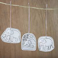 Tin ornaments, 'Elephant Life' (set of 3) - Handcrafted Elephant Scenes Tin Holiday Ornaments (Set of 3)
