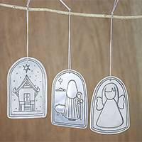Tin ornaments, 'Angels and Shepherds' (set of 3) - Angel and Shepherd Tin Holiday Ornaments (Set of 3)