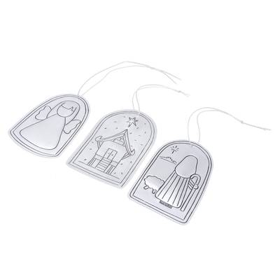 Angel and Shepherd Tin Holiday Ornaments (Set of 3)