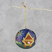 Silk and paper mache ornament, 'Thai Nativity' - Embellished Silk on Papier Mache Thai Christmas Ornament