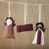 Cotton ornaments, 'Country Nativity' - Dark Red Hand-Stitched Cotton Nativity Ornaments (Set of 3)