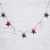 Paper garland, 'Gold Splash' - Red and Green with Gold Stars Saa Paper on Hemp Garland