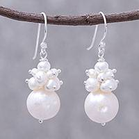 Cultured pearl cluster dangle earrings, 'Pretty White' - Cultured Pearl Cluster Dangle Earrings from Thailand