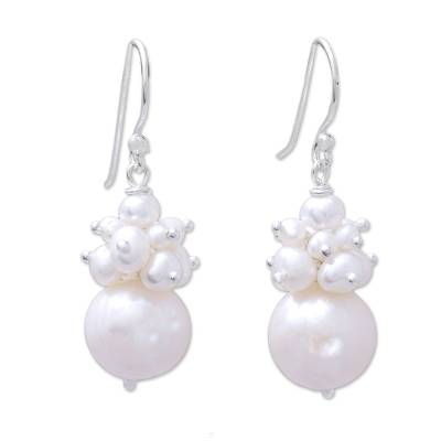 Cultured Pearl Cluster Dangle Earrings from Thailand