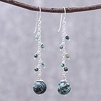 Sterling silver dangle earrings, 'Glittering Pendulum' - Sterling Silver and Recon. Turquoise Dangle Earrings