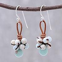 Jasper dangle earrings, 'Earthy Passion' - Jasper Cluster Dangle Earrings from Thailand