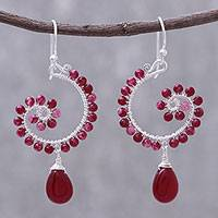 Quartz dangle earrings, 'Splendorous Spiral' - Quartz Beaded Dangle Earrings from Thailand
