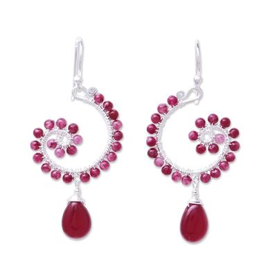 Quartz dangle earrings, 'Splendorous Spiral' - Quartz Beaded Dangle Earrings from Thailand