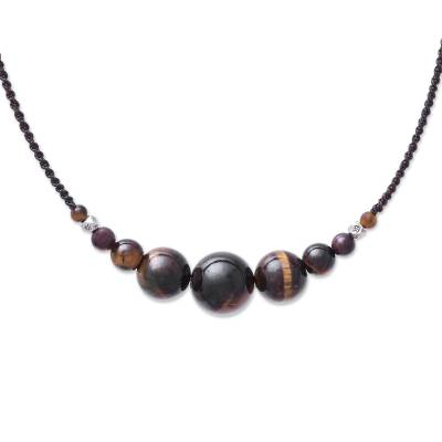 Tiger's eye beaded pendant necklace, 'Cool Life' - Tiger's Eye Beaded Pendant Necklace from Thailand