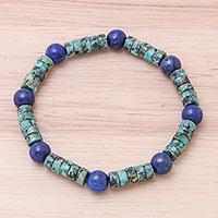 Lapis lazuli beaded stretch bracelet,