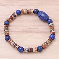 Lapis lazuli and jasper beaded stretch bracelet, 'Special Earth' - Lapis Lazuli and Jasper Beaded Stretch Bracelet