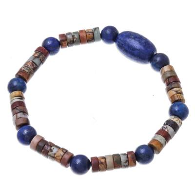 Lapis Lazuli and Jasper Beaded Stretch Bracelet