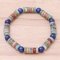 Jasper and lapis lazuli beaded stretch bracelet, 'Special Earth' - Jasper and Lapis Lazuli Beaded Stretch Bracelet