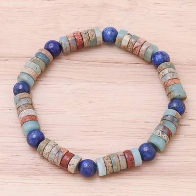 Jasper and lapis lazuli beaded stretch bracelet, Special Earth