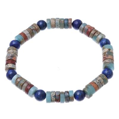 Jasper and Lapis Lazuli Beaded Stretch Bracelet