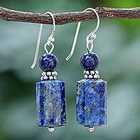 Lapis lazuli dangle earrings, 'Blue Marvel' - Lapis Lazuli Dangle Earrings from Thailand