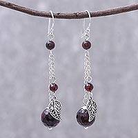 Garnet dangle earrings, 'Forest Marvel' - Leafy Garnet Dangle Earrings from Thailand
