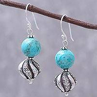 Silver dangle earrings, 'Gorgeous Spirals' - Karen Silver and Recon. Turquoise Earrings from Thailand