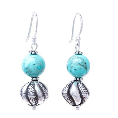 Karen Silver and Recon. Turquoise Earrings from Thailand
