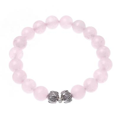 Leaf-Themed Rose Quartz Beaded Stretch Bracelet