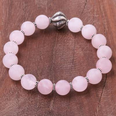 Rose quartz beaded stretch bracelet, 'Pink Marvel' - Rose Quartz Beaded Stretch Bracelet from Thailand