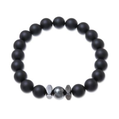 Black Onyx Beaded Stretch Bracelet from Thailand