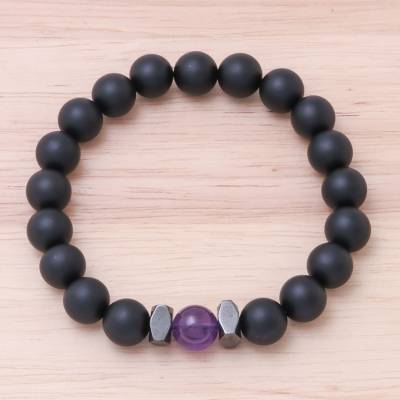 Onyx and amethyst beaded stretch bracelet, 'Black Sky' - Onyx and Amethyst Beaded Stretch Bracelet from Thailand