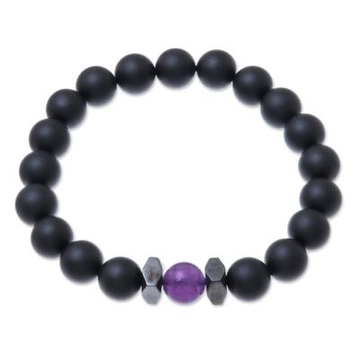 Onyx and Amethyst Beaded Stretch Bracelet from Thailand