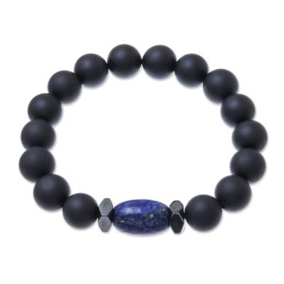 Onyx and Lapis Lazuli Beaded Stretch Bracelet from Thailand