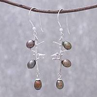 Cultured pearl dangle earrings, 'Birds in Nature' - Bird-Themed Cultured Pearl Dangle Earrings from Thailand
