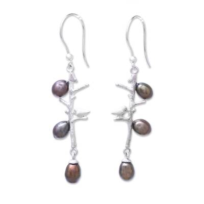 Bird-Themed Cultured Pearl Dangle Earrings from Thailand