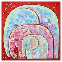'Together' - Signed Naif Painting of an Elephant Family from Thailand