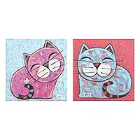 Diptych, 'Sister' - Signed Naif Diptych of Two Cats from Thailand