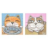 Diptych, 'Enjoy' - Signed Naif Diptych of Two Cats from Thailand