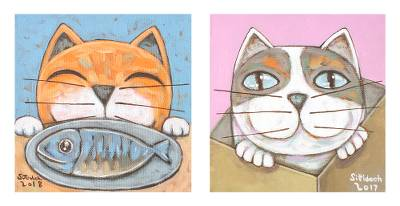 Signed Naif Diptych of Two Cats from Thailand, 'Enjoy'