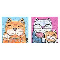 Diptych, 'Family' - Cat-Themed Signed Naif Diptych from Thailand